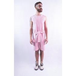 Mono corto de loneta rosa