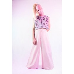 Pantalón ancho de loneta rosa